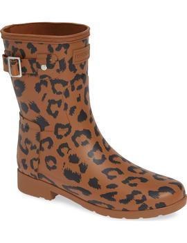 Original Leopard Print Refined Short Rain Boot by Hunter