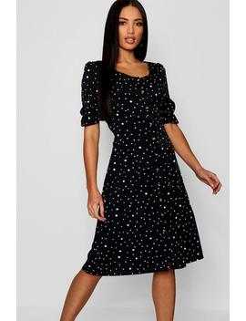 Dalmatian Polka Dot Button Through Midi Dress by Boohoo