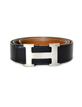"Black/Tan Leather 32mm H Kit 34""   36"" Belt by Hermès"