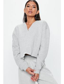 Grey Notch Neck Cropped Sweatshirt by Missguided