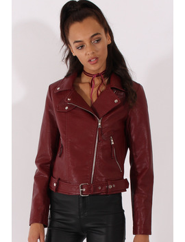Burgundy Faux Leather Biker Jacket   Dallas by Rebellious Fashion