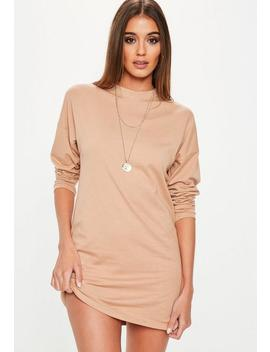 Nude Long Sleeve Plain T Shirt Dress by Missguided