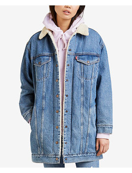 Long Sherpa Lined Trucker Jean Jacket by Levi's