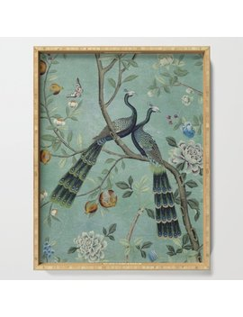 A Teal Of Two Birds Chinoiserie Serving Tray by