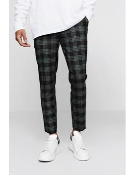Bold Check Detail Cropped Trouser by Boohoo