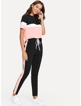 Color Block Tee & Drawstring Tape Pants Set by Shein