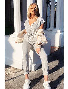 Grey Plunge Drawstring Waist Jumpsuit   Missie by Rebellious Fashion
