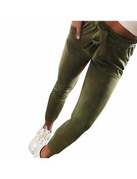 Listha High Waist Harem Pants Women Bowtie Casual Pants Elastic Striped Trousers by Listha