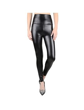 Jntworld Women's Faux Leather High Waisted Leggings by Jntworld