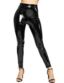 Be Jealous Womens Shiny High Waist Stretchy Pvc Wet Look Disco Leggings Pants by Be Jealous