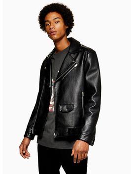 Faux Leather Oversized Biker Jacket by Topman