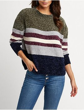 Chenille Striped Pullover Sweater by Charlotte Russe