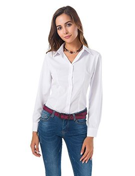 Womens Basic Long Sleeve Button Down Shirts Simple Pullover Stretch Formal Casual Shirt by Mei Teer