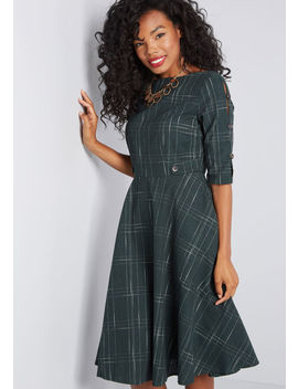 Debonair Docent Plaid Dress by Banned