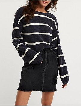 Striped Chenille Pullover Sweater by Charlotte Russe