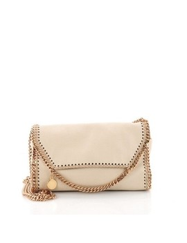 Falabella On Chain Beige Shaggy Deer Clutch by Stella Mc Cartney