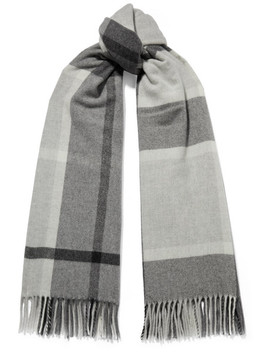 Suter Fringed Checked Wool And Cashmere Blend Scarf by Holzweiler