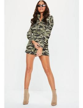 Green Camo Utility Pocket Playsuit by Missguided