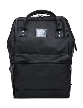 Kah&Kee Polyester Backpack Functional Anti Theft Travel Bags For Men Women (Black) by Amazon