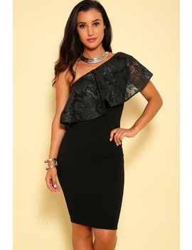 Sexy Black Ruffle Sequin One Shoulder Bodycon Party Dress by Ami Clubwear
