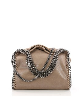 Falabella Fold Over Mini Taupe Shaggy Deer Cross Body Bag by Stella Mc Cartney