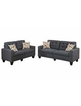 Poundex F6901 Bobkona Windsor Linen Like Poly Fabric 2 Piece Sofa And Loveseat Set, Blue Grey by Poundex