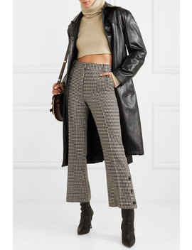 Cropped Houndstooth Tweed Flared Pants by Rokh