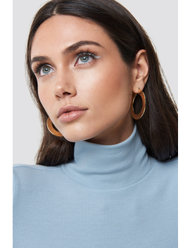 Flat Gold Hoop Earrings  Gold by Na Kd
