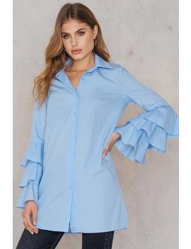 Ruffle Sleeve Shirt Dress Bluebell by Na Kd
