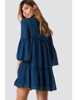 Flounced Mini Chiffon Dress Dark Blue by Na Kd