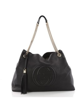 Soho Chain Strap Large Black Leather Shoulder Bag by Gucci