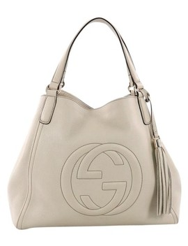 Soho Medium Beige Leather Shoulder Bag by Gucci