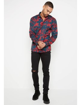 Rose Shirt   Navy/Red by Maniere De Voir