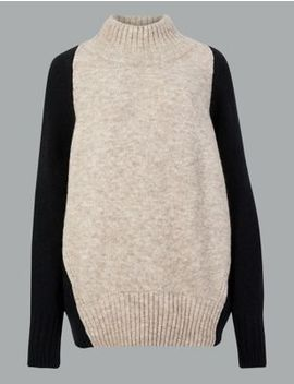 Wool Blend Colour Block Turtle Neck Jumper by Marks & Spencer