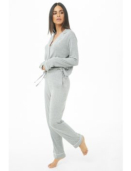 Button Front Shirt & Pants Pj Set by Forever 21