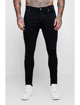 Spray On Skinny Jeans With Biker Panelling by Boohoo Man