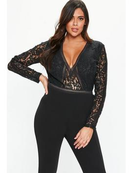 Plus Size Black Plunge Bodysuit by Missguided