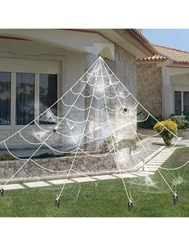 Y Stop 16 Ft Giant Spider Web With 2 Small Spider For Outdoor Halloween Decorations by Y Stop