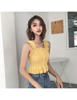 Ever After   Sleeveless Ruffled Trim Cropped Top by Ever After