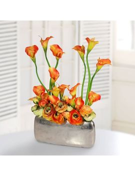 Faux Calla Lily In Wide Silver Vase   Orange by West Elm