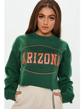 Green Arizona Graphic Cropped Sweatshirt by Missguided