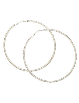 100 Mm Faux Crystal Lined Silver Tone Hoop Earrings by Claire's