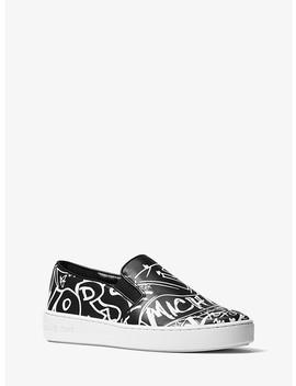 Keaton Graffiti Leather Slip On Sneaker by Michael Michael Kors