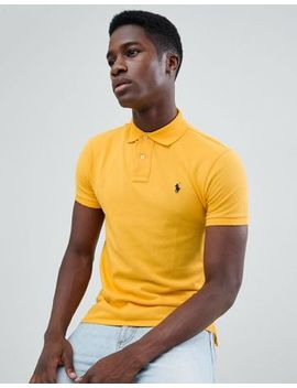 Polo Ralph Lauren Slim Fit Pique Polo Player Logo In Yellow by Polo Ralph Lauren