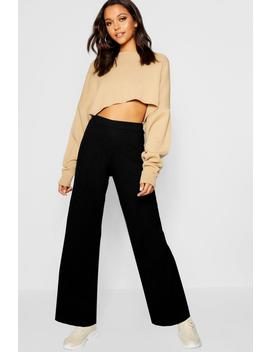 Rib Knit Wide Leg Trouser by Boohoo