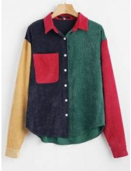 Zaful Patch Pocket Color Block Corduroy Shirt   Multi M by Zaful