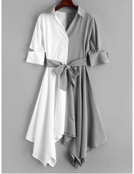 Striped Belted Handkerchief Dress   Multi L by Zaful