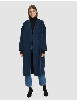 Julieta Oversized Wool Coat In Medium Blue by Paloma Wool