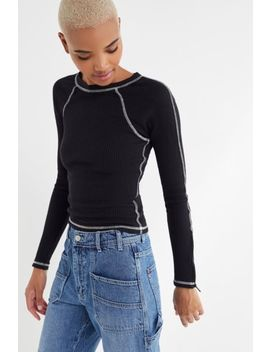 Uo Ingrid Thermal Contrast Stitch Top by Urban Outfitters