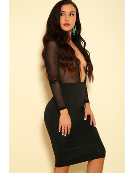 Sexy Black Sheer Plunging Neckline Long Sleeve Bodycon Party Dress by Ami Clubwear